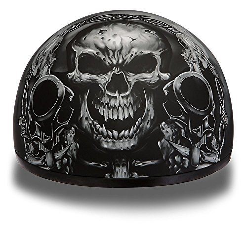 Daytona Helmets Motorcycle Half Helmet Skull Cap- Guns 100% DOT Approved
