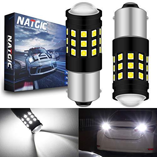 NATGIC 1156 BA15S 7506 1141 1095 1073 Ampoule LED Blanc Xenon 2700LM 6500K 3030 27SMD avec Objectif Projecteur pour feu Stop Feu de recul Feu de Jour Feux de Jour 12V-24V (Paquet de 2)