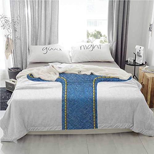 ParadiseDecor 60'x80' Letter T Warm Blanket Super Soft Blanket Bedding Supplies Alphabet Design with Denim Texture Element Blue Jeans Stitches Illustration Print Blue Yellow