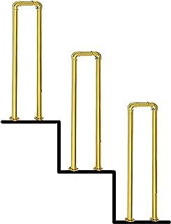 SACKDERTY Poręcz schodowa Złota 3 szt. (Multi-Size opcjonalnie) Poręcz schodowa w kształcie litery U Ocynkowana rura Antyp...