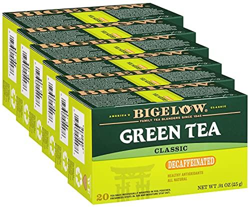 Bigelow Tea, Decaffeinated Bags 20 Box Pack of Decaf Bags Total, Green Tea, 120 Count, (Pack of 6)