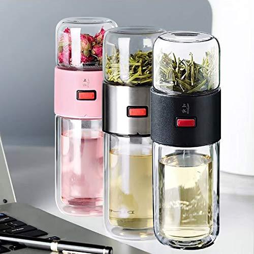 SIRIGOGO Taza de té Separador de té, Doble Cristal portátil, Taza de Filtro Creativa, Simple, portátil, Taza de Viaje, Taza de té, Taza de Agua portátil de Gran Capacidad