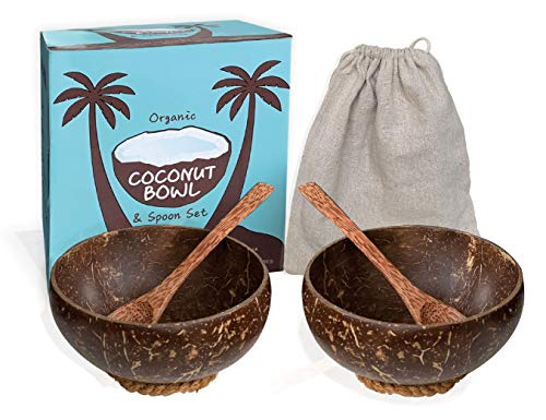 EMRSTORES Organic Coconut Bowls and Wooden Spoons Set - Set of 2 Wooden Bowls Polished With Coco Oil - Vegan Gift Bowls- Salad Smoothie Buddha Acai Coconut Shell Bowl for Kitchen and Decoration