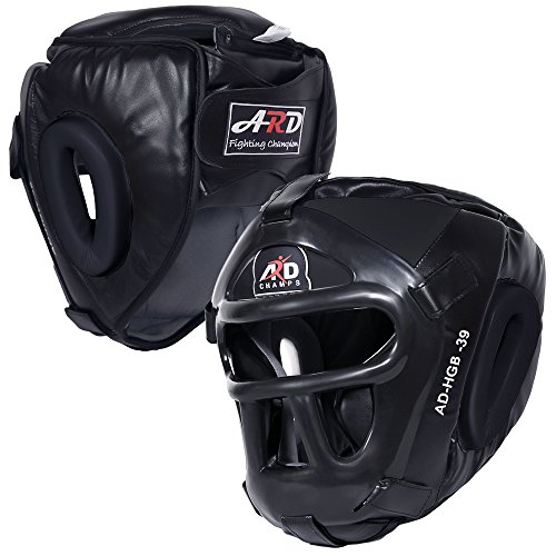 ARD Leather Art MMA Boxing Protector Head Guard UFC Wrestling Helmet Head Gear (Black, Large)