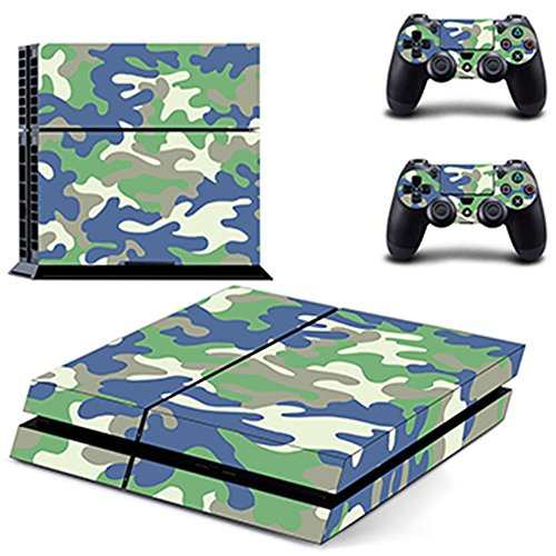 Wondder PS4 Pegatina de Piel, Pegatina de Piel Adhesiva de Vinilo de Protección para PS4 Consolas + 2 Pieles de Controlador + 2 x Agarraderas de Silicona (Color 3)