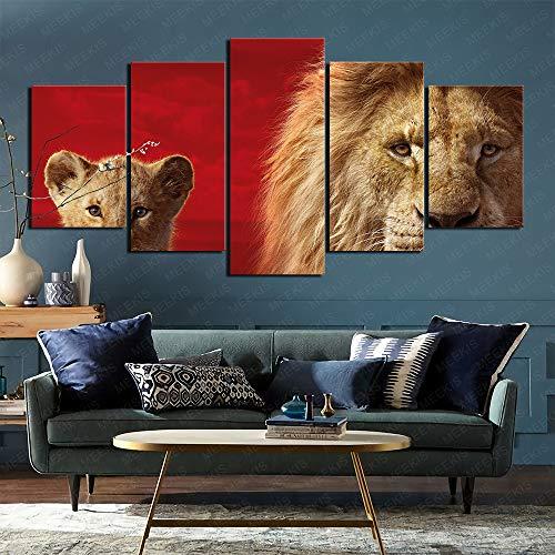 CAFO Leinwand Wandkunst Bilder 5 STK. Der König der Löwen Festliche Stimmung 100x50cm Rahmenlos