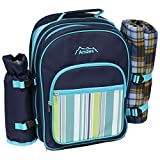 Andes 2 Person Deluxe Picnic Set Hamper Backpack/Rucksack Cool Bag, Includes Cutlery, Plates