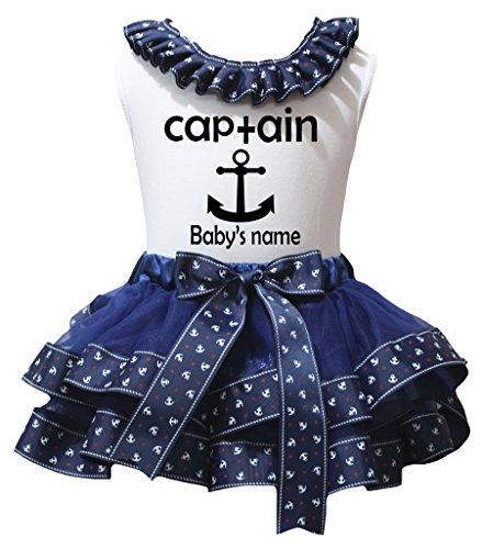 Petitebelle Personaliseer Captain Wit Shirt zeeman Anker Navy Petal Rok Nb-8y