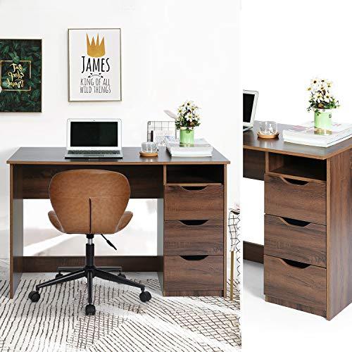 FurnitureR Mesa de Estudio de Escritura multipropósito para computadora con 3 cajones de guía deslizantes Laterales Diseño Minimalista Moderno Escritorio de Oficina de Madera Nogal