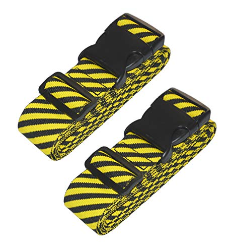 Lc.Courage Adjustable Luggage Straps/Travel Bag Strap/Suitcase Belts (Yellow/Black 2Pack)
