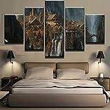 WJWORLD Poster,5 Teilig Leinwanddrucke Leinwand stück Kunstdruck modern Wand Aufhängen Home Dekoration Moderne Gemälde HD Panel/Herr Der Ringe/Rahmenlos