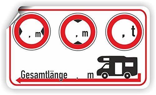 Wohnmobil/Breite/Höhe/Gewicht/Länge/Piktogramm