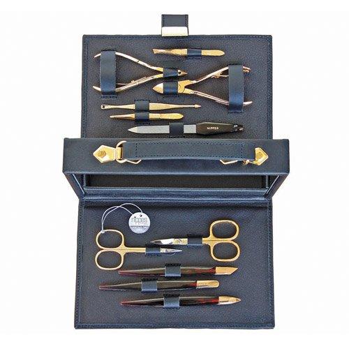 Maniküre-Set, Leder-Koffer mit Verschluss, bordeaux oder schwarz