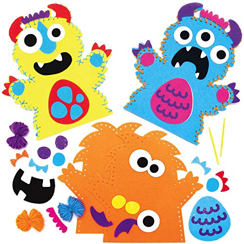 Baker Ross AX244 Monster Handpuppen zum Nähen Bastelset für Kinder - 4 Stück, Kreative Künstler- und Bastelbedarf zum Basteln und Dekorieren zur Winterzeit