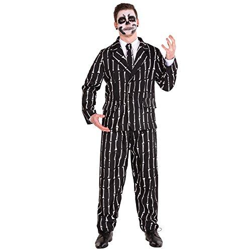 TecTake dressforfun Herrenkostüm Herren Anzug mit Knochenoptik inkl. Hose, Jackett und Krawatte (L | Nr. 300044)