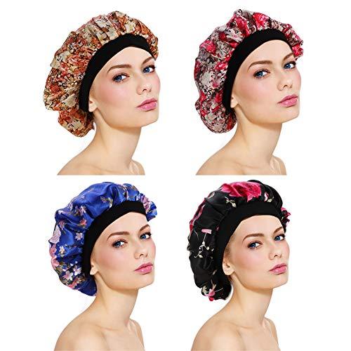 dorisdoll 4 Satz Satin Schlafmütze Bonnet Hut Seide Weiche Elastische Haarwickel Abdeckung Nachtschlaf Haarpflege Breites Band für Frauen Mädchen