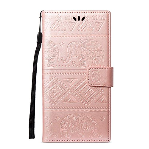 EUWLY Kompatibel mit Huawei P20 Lite Handyhülle Klapphülle Handyhülle Elefant Retro Vintage Lederhülle Book Case Handytasche Leder Tasche Flip Wallet Case Cover,Rose Gold