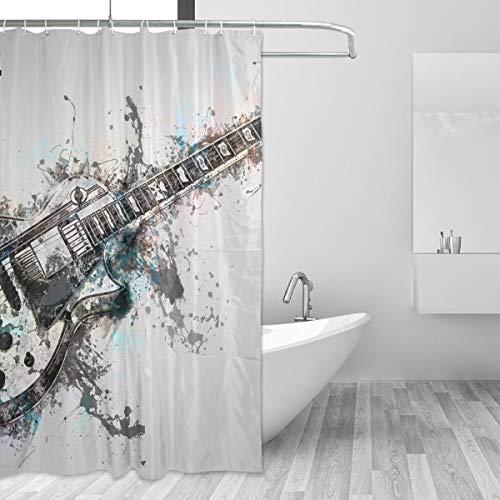 FANTAZIO Duschvorhang Gitarre Instrument Musik Polyester Badvorhang mit dicken C-Form Haken für Badezimmer wasserdicht langlebig & super wasserdicht 152,4 x 182,9 cm