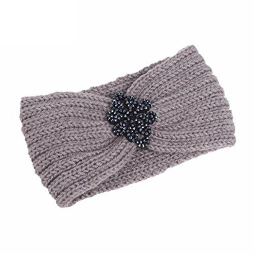 Covermason Serre-tête Bandeau Bande de Cheveux Laine Tricoté Turban Elastique Couvre-Oreille Head Wrap Chapeaux avec des Pierres pour Femme Fille (Gris)