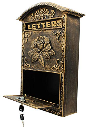 Locking Wall Mounted Mailbox - Bronze Vintage Aluminum with Rose Design Residential Secure Locking Mail Letter Box