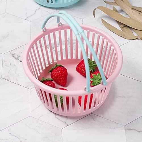 XKMY Cesta de baño 1 cesta de baño y cesta de plástico multifuncional, juguetes portátiles para recibir cesta de fruta, cesta de almacenamiento de baño (color: rosa 2)