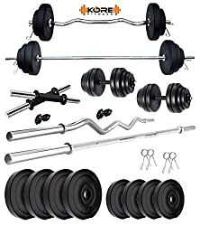 Kore PVC 20 Kg Home Gym Set with One 3 Ft Curl + One 5 Ft Plain Rod and One Pair Dumbbell Rods