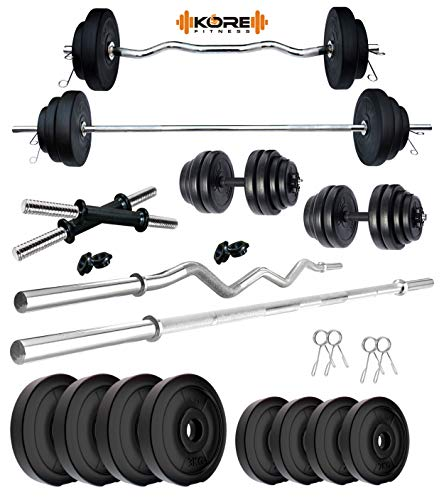 Kore Iron, PVC 20 Kg Home Gym Set with One 3 Ft Curl + One 5 Ft Plain Rod and One Pair Dumbbell Rods, Black