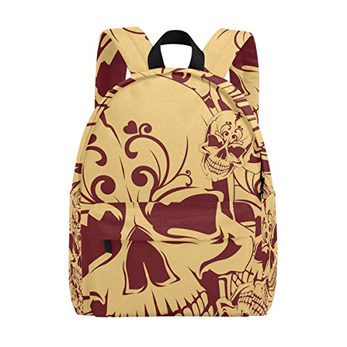 TIZORAX Vintage Dead Skull Lightweight Travel School Backpack for Women Girls Teens Kids