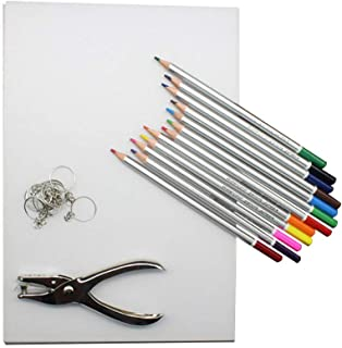 TOYANDONA 33pcs Heat Shrink Plastic Sheet Kit Include 10 PCS Shrinky Art Paper with 12pcs Pencil and Puncher and 10pcs Key...