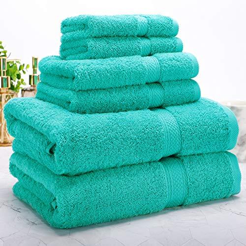 Isbasa Cotton - Juego de toallas de baño de lujo absorbentes para spa y baño, 2 toallas de baño, 2 toallas de baño, 2 toallas de mano, 2 toallas de baño, 2 toallas de baño (Aqua)