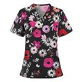 KUKICAT Women's Short Sleeve V-Neck Pocket Care Workers T-Shirt Tops Black