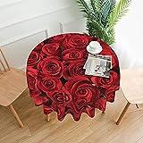 Mantel redondo de poliéster con estampado de rosas rojas y tela de mesa circular resistente al agua a prueba de derrames de gran mesa para comedor cocina de 60 pulgadas