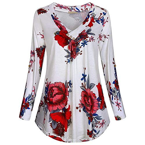 Clearance Womens Casual Tops Toamen Plus Size Long Sleeve V-Neck Flower Print Button Pullover T Shirt Blouse(White, 12)