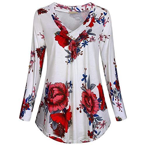 VEMOW Sommer Herbst Elegant Damen Oberteil Langarm O Neck Printed Flared Floral Beiläufig Täglich Geschäft Trainieren Tops Tunika T-Shirt Bluse Pulli(Y3-Weiß, 42 DE/L CN)