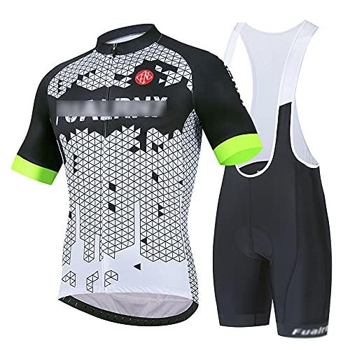 Traje de Ciclismo Hombre, Conjunto de Camiseta de Manga Corta MTB Transpirable para Verano y Otoño, Jersey + Pantalones Cortos y Babero Acolchado para Ciclismo Depor(Size:Grande,Color:Blanco Negro)