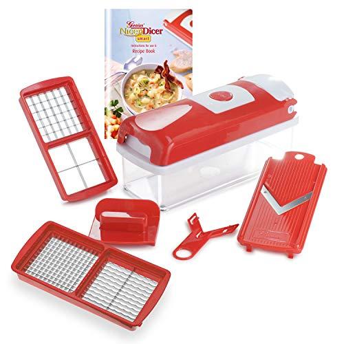 Genius Nicer Dicer Smart (6 Teile) in rot Obst- und Gemüseschneider - würfeln stifteln hobeln schneiden - inkl. Rezeptheft und rutschhemmenden Standfüßen