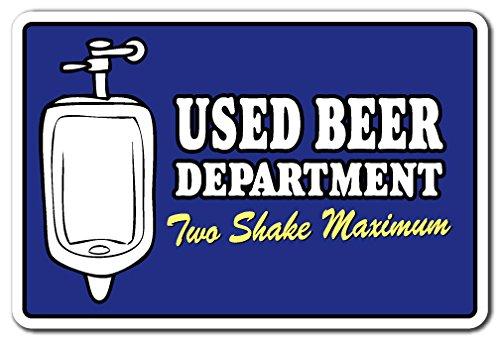 "Used Beer Department Two Shake Maximum Aluminum Sign bar Bathroom Pub Aluminum Signs | Indoor/Outdoor | 18"" Tall"