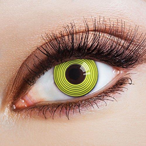 aricona Kontaktlinsen - Schwarze Kontaktlinsen mit hypnotisierender gelber Spiral-Optik - Schwarze Kontaktlinsen ohne Stärke für Halloween, Fasching, Karneval, Cosplay, 2 Stück