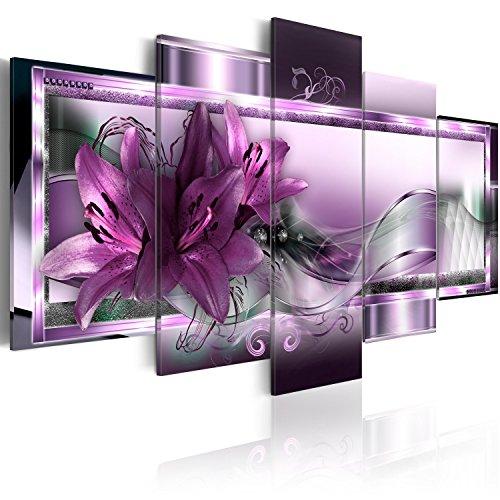 B&D XXL murando Quadro su Vetro Acrilico200x100 cm - 5 Parti Quadro Moderno Impreso Stampa Immagini Murale Fotografia Decorazione da Parete - Fiori Orchidea Astrazione b-C-0153-k-p