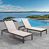 Crestlive Products Aluminum Adjustable Chaise Lounge Chair and Table Set Five-Position and Lay Flat Outdoor Recliner with Wheels, All Weather for Patio, Beach, Yard, Pool (Beige)