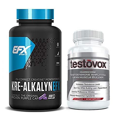 Kre Alkalyn EFX y Testovox Bundle | Potente pila de creatina monohidrato muscular constructor | Aumenta la testosterona, el rendimiento y la fuerza | Suplemento revolucionario de aminoácidos