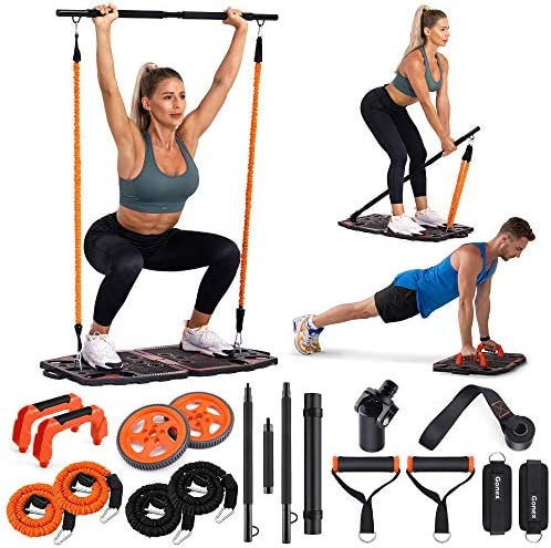 Gonex Portable Home Gym Workout Equipment with 10 Exercise Accessories Ab Roller Wheel Elastic product image