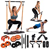 Gonex Portable Home Gym Workout Equipment with 10 Exercise Accessories Ab Roller Wheel,Elastic...