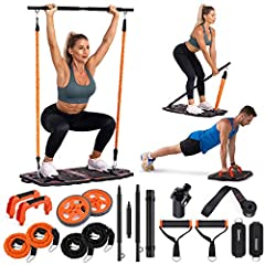 ALL-IN-ONE HOME GYM EQUIPMENT SYSTEM : Gonex Training Base is used with kinds of Workout Equipment such as Post Landmine Sleeve, Push-up Handle Bar, Ab Roller ,3-section Bar and 30lbs/50lbs Resistance Bands, which can meet different requirements of t...