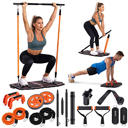 Gonex Portable Home Gym Workout Equipment with 10 Exercise Accessories Ab Roller Wheel,Elastic Resistance Bands,Push-up Stand,Post Landmine Sleeve and More for Full Body Workouts System