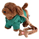GLOGLOW Electronic Interactive Dog, Kids Walking and Barking Puppy Dog Toy Pet with Remote Control Leash Funny Electronic Plush Toys Musical Singing Walking Electric Toy