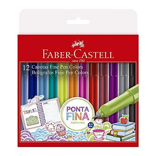 Caneta Ponta Fina, Faber-Castell, Fine Pen Colors, 12 Cores