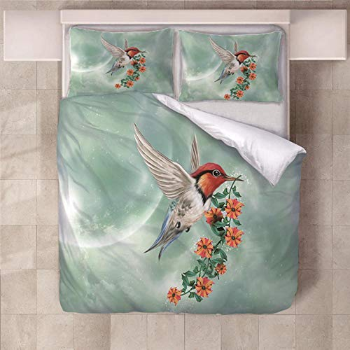 PERFECTPOT Single Duvet Cover Set Flowers Birds Printed Bedding Duvet Cover Set in Polyester with Zipper Closure Quilt Bedding Sets with 2 Pillowcases for Adults Kids Children, 140 x 200 cm