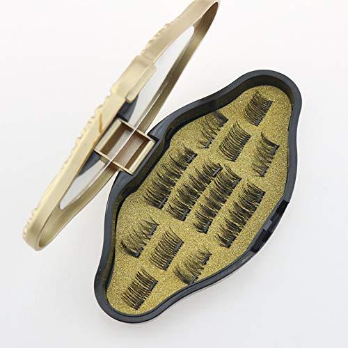 Magnetische Wimpern Eyeliner Set, Magnet Wimpern 3 Magnete, 3 Paar Magnetischer Falsche Lashes 3D Natürlich Lange Und Dichte Ganz, Wiederverwendbar ohne Kleber (3 Paare)
