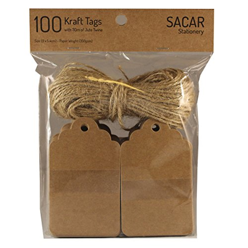 100 Premium Brown Kraft Tags with 30 Meters of Jute Twine - For Use As Gift Tags, Wedding Favor Tags, Product Label / Price Tags or for Scrapbooking and Various Arts & Crafts and Homemade Projects By Sacar Stationery